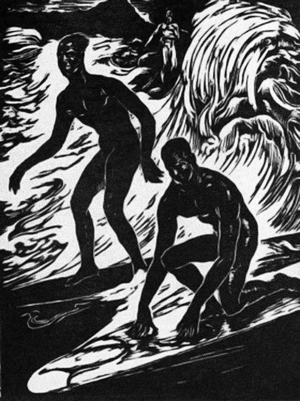 Ilustración de surfistas/Long days/Longboard